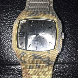 Camouflaged Denim Surface Material Diesel Watch